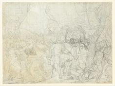 This is a compositional study for David's large canvas of the same subject, signed and dated 1814 and today in the Musée du Louvre, Paris.  The drawing was executed in two distinct stages, offering a view into the artist's creative process