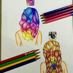 22 Popular Medium Hairstyles for Women 2017 - Shoulder Length Hair Ideas Amazing Drawings, Beautiful Drawings, Cute Drawings, Amazing Art, Colorful Drawings, App Drawings, Art Sketches, Pencil Drawings, Hybrid Art