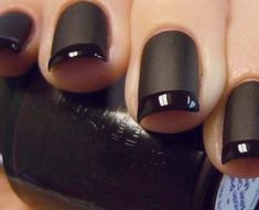 I like girls with black nail polish and I like girls with french manicures. This is a black french manicure. Go get this now and become twice as sexy! Matte Black Nails, Matte Nail Polish, Nail Polish Trends, Black Polish, Black Manicure, Nail Trends, Acrylic Nails, Nail Black, Black Nails