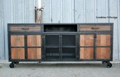 Credenza De Madera Rustica : Rustic credenza steel and reclaimed wood media console