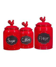 Three-Piece Red Ceramic Chalkboard Canister Set by Home Essentials and Beyond #zulily #zulilyfinds
