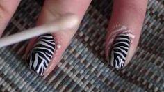 Zebra Print Nail Tutorial, via YouTube.