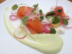 house-made gravlax- cress, avocado, pickled red onions, radish salad, caper-goat cheese crema