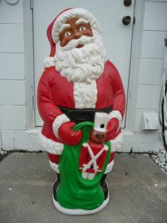 40 african american santa lighted plastic blow mold christmas yard decoration black santa santa - African American Outdoor Christmas Decorations