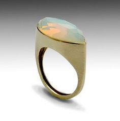 14K brushed yellow gold ring inlaid opalite
