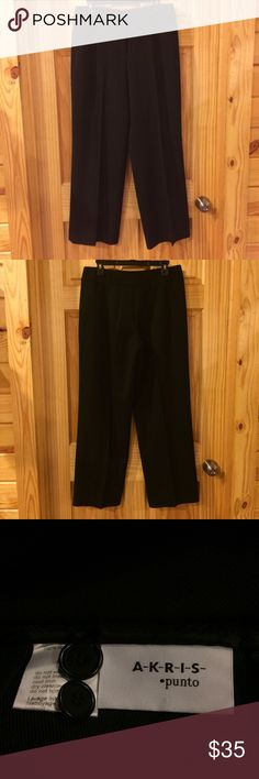 """Akris Punto Black Wool Pants Fabric is extraordinarily wrinkle-resistant. Has generous side pockets that zip closed. Not stretchy. In excellent condition. Waist: 33"""" Hips: 46"""" Rise: 11"""" Inseam: 29.5"""" Akris Punto Pants"""