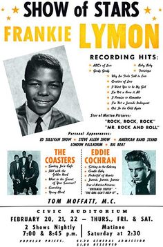 Frankie Lymon - Eddie Cochran - The Coasters - 1958 - Concert Poster Magnet Concert Signs, Rock Concert, Mp3 Song, Music Songs, Vintage Concert Posters, Vintage Posters, Rockabilly Rebel, Classic Rock And Roll, Recorder Music
