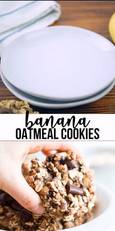 These are the best banana oatmeal cookies! With only 3 ingredients, they're healthy, gluten free and made with no sugar. Sweetened only with bananas! They make a great breakfast or snack and they fit Banana Oat Cookies, Healthy Oatmeal Cookies, Healthy Oatmeal Breakfast, Oatmeal Cookie Recipes, Breakfast Bake, Oats Breakfast Recipes, Oatmeal Cookies No Sugar, Healthy Cookies For Kids, Breakfast Gravy