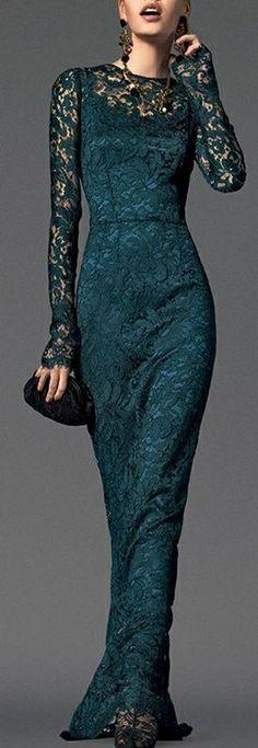 Emerald long lace evening dress