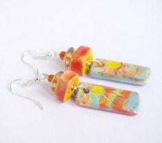 Christmas gift Sun Sunny earrings dangle orange by CocoFlowerShop
