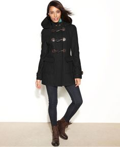 Image 1 of Gloverall Fit and Flare Wool Duffle Coat with Hood ...