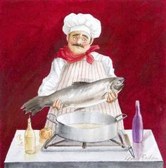 No Fish Tonight (Gloria Eriksen) Chefs, Kitchen Artwork, Fat Art, Creation Photo, Vintage Scrapbook, Animation, Le Chef, Poster Wall, Painting Frames