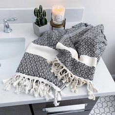 Sophie Turkish Cotton Boho Throw Blanket (Full to Queen Size, Cream Base with Black Stripes) Hand Towel Sets, Hand Towels, Tea Towels, Turkish Towels, Cotton Blankets, Cotton Lights, Hand Spinning, Black Pattern, Kitchen Towels