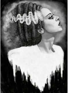 Bride of Frankenstein Stretched Canvas Art by Shayne of the Dead