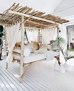 , Easy DIY Outdoor Bench Ideas For Your Backyard. Pretty backyard deck with a bamboo canopy bed. Great backyard design for parties. Home design deco. , Easy DIY Outdoor Bench Ideas For Your Backyard Living Room Bar, Living Room Furniture, Living Spaces, Living Room Canopy, Cozy Living, Living Rooms, Villa Design, House Design, Deck Design
