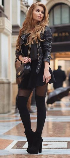 all black everything || biker jacket + bag + top + skirt + over knee boots