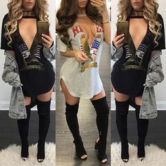 Sexy Women Irregular Low Cut Casual Dress