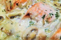 Somon  in sos de ciuperci si smantana la cuptor Seafood Recipes, Cooking Recipes, Romanian Food, Christmas Cooking, Potato Salad, Shrimp, Recipies, Goodies, Keto