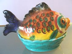 Vintage Ceramic Majolica Fish Tureen Made in Italy by EurotrashItaly on Etsy Red Fish Blue Fish, Big Fish, Little Fish, Vintage Outfits, Vintage Clothing, Tile Art, Vintage Ceramic, Cool Stuff, Stuff To Buy