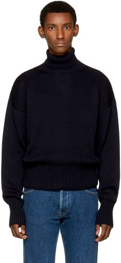 Loewe - Navy Cotton & Wool Turtleneck