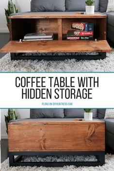 DIY Coffee Table With Hidden Storage - DIY Huntress