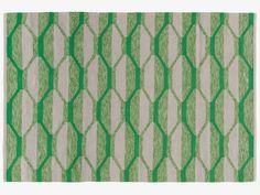 CORTEZ GREENS Cotton Medium green/grey rug 140 x 200cm - HabitatUK