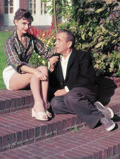 "Audrey Hepburn and Humphrey Bogart photographed on the location of ""Sabrina"", circa 1953"