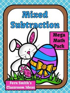 Mixed Subtraction Easter Mega Math Pack - Printables and Center Games $Paid #TPT