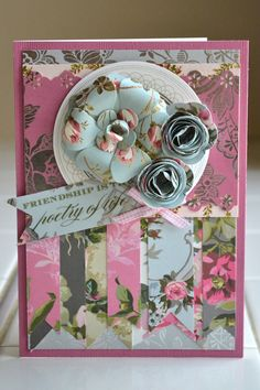 Anna Griffin Paper Flowers - card make with kit