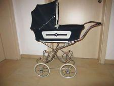 Zekiwa Puppenwagen dunkelblau Cord / Kord aus den 70er Jahren