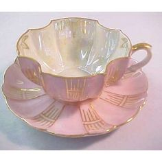 Vintage Royal Sealy China Pink Luster Tea Cup and Saucer Set - Japanese porcelain from the mid-20th c. ~ egg-shell thin with a lovely pearlescent sheen    Nothing like china to make something ordinary better