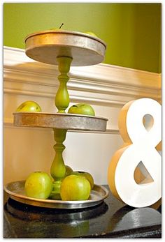 Three tiered stand made from antique pie pans, genius!