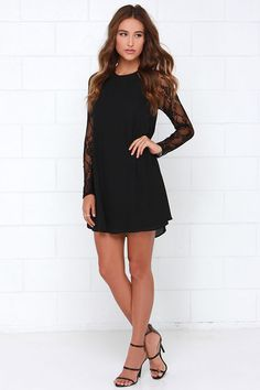 Sometimes lace is all it takes to to make a frock really fabulous. Case in point: the Lace In Point Black Lace Shift Dress! Lace long sleeves on a shift dress. Semi Formal Dresses Black, Formal Dresses For Teens, Casual Dresses, Cute Black Dress, Lace Dress Black, Dress Lace, Formal Wedding Attire, Wedding Outfits, Club Party Dresses