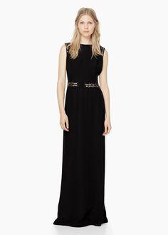 Vestido largo abalorios - Vestidos de Mujer   MANGO