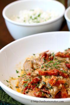 Braised Chicken in Sun-Dried Tomato Cream | unihomemaker.com | #recipe #chicken #dinner