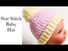 Star Stitch Crochet Baby Hat, Crochet hat for boys and girls LEFT HANDED VERSION, Crochet for Baby - YouTube Crochet Baby Jacket, Crochet Baby Beanie, Baby Beanie Hats, Hat Crochet, Crochet Hats For Boys, Star Stitch, Boy Or Girl, Stars, Youtube
