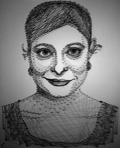 """Jenny"" Nagel und Faden Portrait, 2012 60x70cm nail and thread portrait, 2012, string art, 60x70cm"
