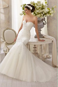2014 Full Beaded Bodice Sweetheart Wedding Dress With Tulle Skirt Lace Up