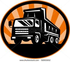 vector illustration of a dump truck viewed from front at low angle #dumptruck #retro #illustration