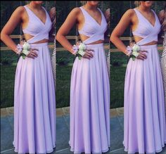 Image of Cute Two Piece Formal Dresses 2018, Chiffon Light Purple Prom Dresses, Long Party Dresses