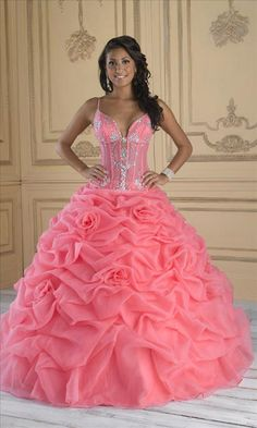Spaghetti Beaded Pleated Quinceanera Dress