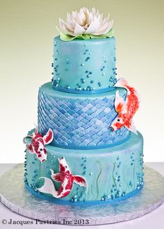 Beautiful Cakes-Best Cakes: Koi wedding cake, this is mine! Complete with water lily on top. Cupcakes, Cupcake Cakes, Gorgeous Cakes, Pretty Cakes, Amazing Cakes, Wedding Cake Designs, Wedding Cakes, Pond Cake, Super Torte