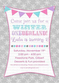 winter onederland birthday party invitation by katiedidesigns