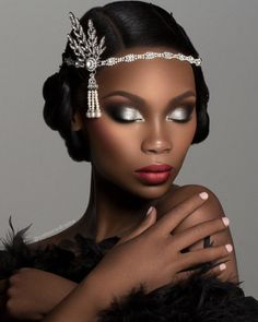 Bridal Makeup Looks For Your Big Day - Wedding Makeup Celebrity Wedding Makeup Tips, Bridal Makeup, Gatsby Makeup, Roaring 20s Makeup, Flapper Makeup, Bridal Beauty, Maquillage Black, Beauty Hacks For Teens, Beauty And Fashion
