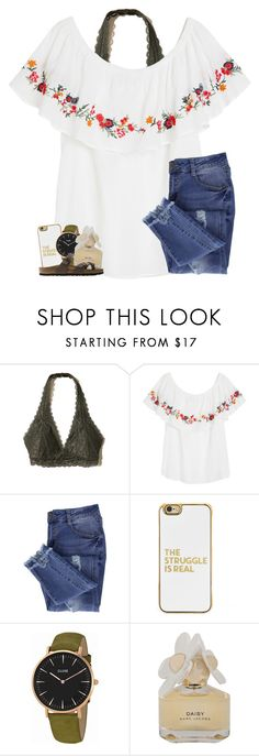 """""""I was hacked!!! rtd!"""" by oliviajordyn ❤ liked on Polyvore featuring Hollister Co., Essie, BaubleBar, CLUSE, Marc by Marc Jacobs and Birkenstock"""