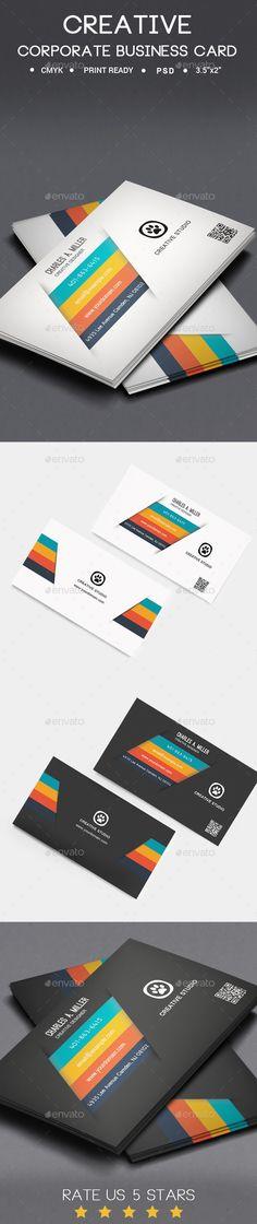 Creative Corporate Business Card Design Template - Creative Business Cards Template PSD. Download here: https://graphicriver.net/item/creative-corporate-business-card/12470002?s_rank=1796&ref=yinkira
