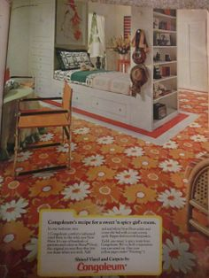 Bright patterned carpeting. Not every room in the house had the same carpet.
