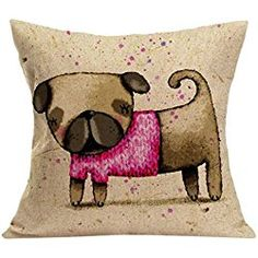 "Ikevan Vintage Cute Dog Pillow Case Sofa Waist Throw Cushion Cover Home Decor(18"" x 18"") (A)"
