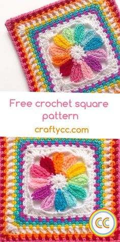 Free crochet square afghan pattern tutorial flower Crafty CC rainbow Source by eilriche Our Reader Score[Total: 0 Average: Related photos:Solid Square & Blanket – Complete Pattern - Design PeakFree Crochet Pattern: Monty Carlo Crochet Square Free Crochet Square, Crochet Flower Squares, Crochet Squares Afghan, Granny Square Crochet Pattern, Afghan Crochet Patterns, Crochet Stitches, Granny Square Tutorial, Crochet Square Blanket, Flower Granny Square