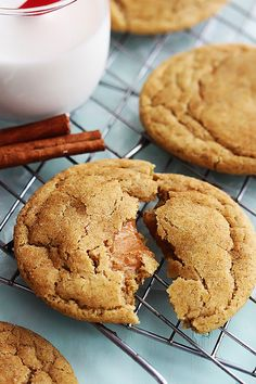Soft and fluffy snickerdoodle cookies stuffed with ooey gooey caramel.